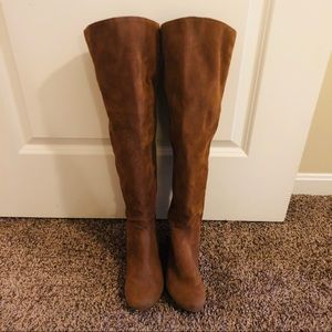 New without box camel over the knee wedge boots